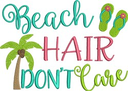 Beach Hair embroidery design
