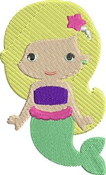 Girl Mermaid embroidery design