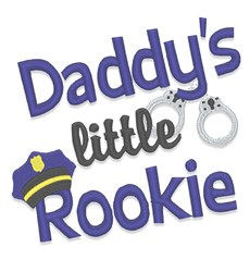 Daddys Little Rookie embroidery design