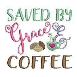 Grace and Coffee embroidery design