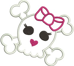 Girl Skull Applique embroidery design