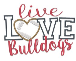 Live Love Bulldogs embroidery design