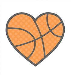 Basketball Heart Applique embroidery design