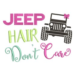 Jeep Hair embroidery design