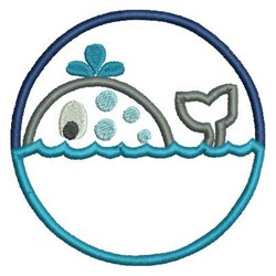 Whale Circle Applique embroidery design