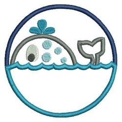 Whale Circle Applique embroidery design