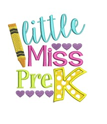 Miss Pre K Applique embroidery design