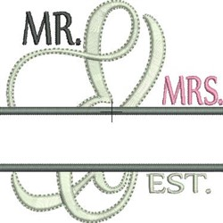 Split Mr and Mrs  embroidery design