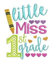 Little Miss First Grade Applique embroidery design