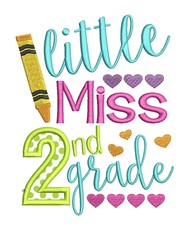 Little Miss Second Grade Applique embroidery design