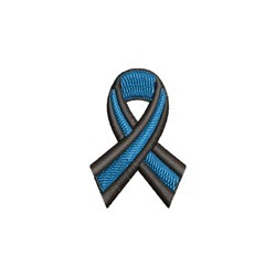 Blue Line Ribbon embroidery design