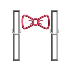 Bow Tie Suspenders embroidery design