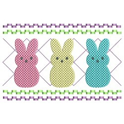 Faux Smocked Bunnies embroidery design