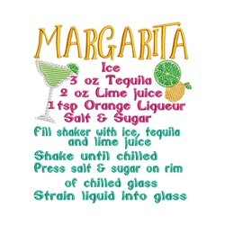 Margarita Recipe embroidery design