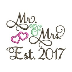 Mr And Mrs Est 2017 embroidery design