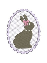 Scallop Bunny Girl embroidery design
