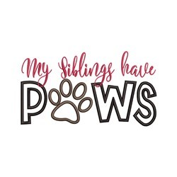 Siblings Paws embroidery design