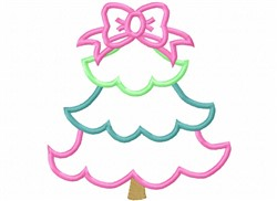 Applique Christmas Tree embroidery design