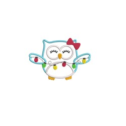 Christmas Owl Applique embroidery design