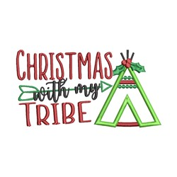 Christmas With My Tribe embroidery design