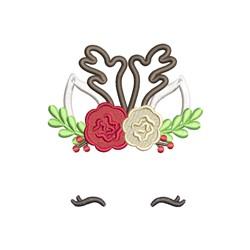 Floral Reindeer embroidery design