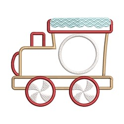 Gingerbread Train Monogram Frame embroidery design