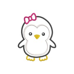 Girl Penguin Applique embroidery design