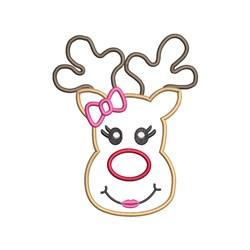 Girl Reindeer Applique embroidery design