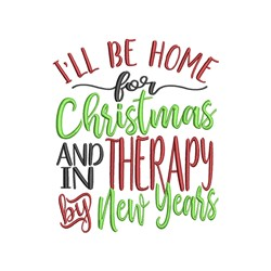 Home For Christmas embroidery design