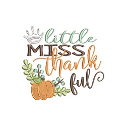 Little Miss Thankful embroidery design
