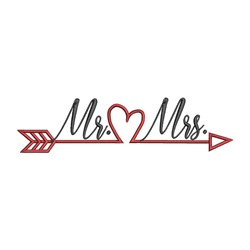 Mr Mrs Arrow embroidery design