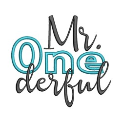 Mr Onederful embroidery design