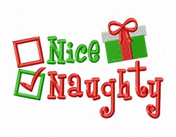 Naughty Nice embroidery design