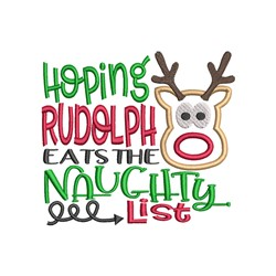 Rudolph Naughty List embroidery design