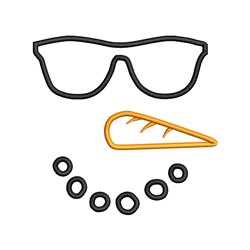 Snowman Face Glasses embroidery design