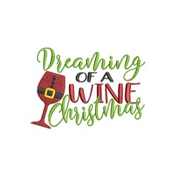 Wine Christmas embroidery design