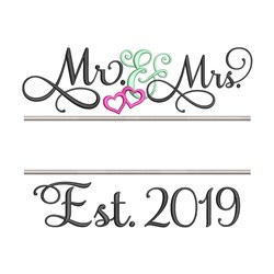 Mr and Mrs 2019 embroidery design