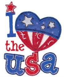 I Heart The USA embroidery design
