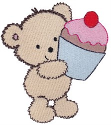 Cuddle Bear And Cupcake embroidery design