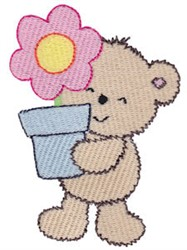 Cuddle Bear And Flower Pot embroidery design