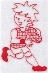 Sporty Boys Redwork Too Football embroidery design