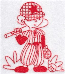 Sporty Boys Redwork Too Baseball embroidery design