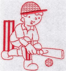 Sporty Boys Redwork Too Cricket embroidery design