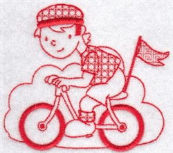 Sporty Boys Redwork Too Bicycling embroidery design