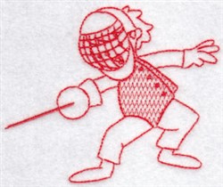 Sporty Boys Redwork Too Fencing embroidery design