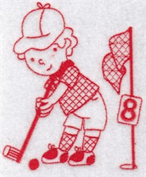 Sporty Boys Redwork Too Golf embroidery design