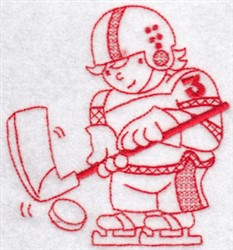 Sporty Boys Redwork Too Hockey embroidery design