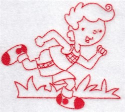Sporty Boys Redwork Too Cross Country embroidery design