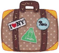 Vacation Time Suitcase embroidery design