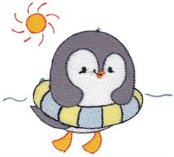 Summer Penguin embroidery design